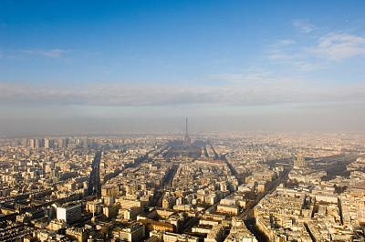 城市,巴黎,莱斯恩范李德斯城区,塞纳河,纪念碑,天空,留白,公园,水平画幅,高视角