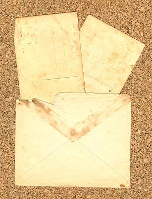 信封,明信片,垂直画幅,空白的,留白,古董,无人,古老的,背景分离,概念