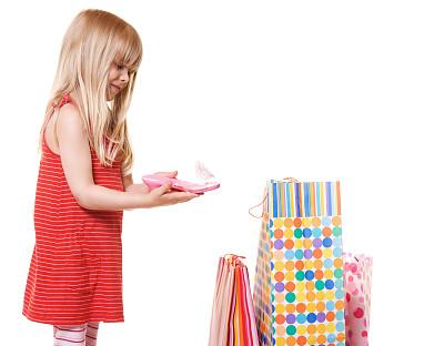 儿童,鞋子,女孩,礼品袋,美,水平画幅,美人,生日,白人,看