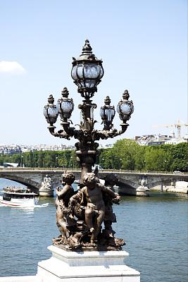 灯,桥,巴黎,亚历山大三世桥,新艺术主义,铁艺,塞纳河,垂直画幅,天空,无人