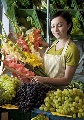 市场,生物学,蔬菜水果商,白葡萄,垂直画幅,正面视角,食品杂货,素食,黑发,组物体