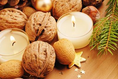坚果,蜡烛,传统,褐色,水平画幅,无人,符号,十二月,星形