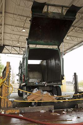 垃圾车,垂直画幅,垃圾,概念,设备用品,商用车,无人,成品,卡车,垃圾场