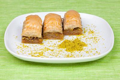 果仁蜜饼,甜点心,薄皮饼,褐色,水平画幅,无人,烘焙糕点,特写,糖浆,开心果