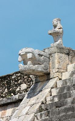残翅,墨西哥玛雅金字,马雅里维耶拉,契晨-伊特萨,尤卡坦州,垂直画幅,台阶,留白,古代文明,灵性