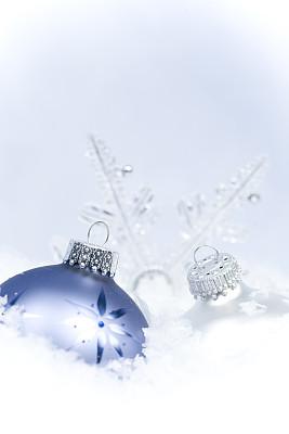 组图,垂直画幅,图像聚焦技术,选择对焦,雪,无人,蓝色,特写,圣诞装饰