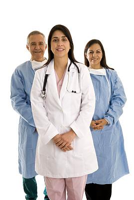 健康保健,团队,正面视角,手术衣,男护士,看护助理,垂直画幅,混合年龄,制服