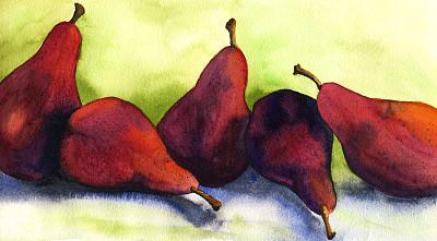 梨,水彩画,饮食,斜靠,成一排,水平画幅,水果,无人,绘画插图,全景