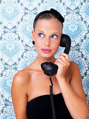 理想化的,护口器,垂直画幅,美,女人,电话机,美人,人,女孩,看