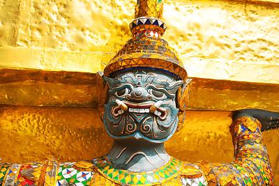 勇士,泰国,玉佛寺,曼谷,黄金,水平画幅,建筑,面部扭曲,雕像,镶嵌图案
