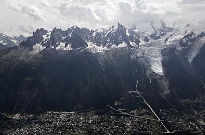 霞慕尼,勃朗峰,高崖跳伞,水平画幅,雪,当地著名景点,户外,云景,都市风景,高处