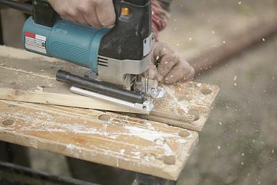 木工,竖锯,电缆,电动工具,水平画幅,工具台,建筑业,工业,部分,电