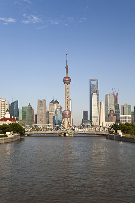 上海,地形,金茂大厦,上海环球金融中心,铁路桥,黄浦江,外滩,浦东,垂直画幅,天空
