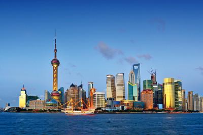 夜晚,上海,上海环球金融中心,东方明珠塔,黄浦江,浦东,水,天空,未来,客船