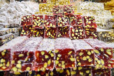 土耳其软糖,水平画幅,水果,坚果,甜食,开心果,土耳其,欢乐,成分,糖果