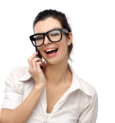 青年女人,电话机,眼镜,衣服,可爱的,垂直画幅,黑发,健康,仅成年人,青年人