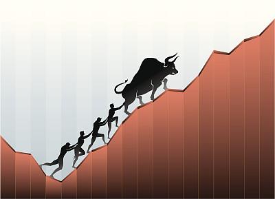 经济,公牛,团队,提举,绘画插图,方向,矢量,图表,商务,股市和交易所