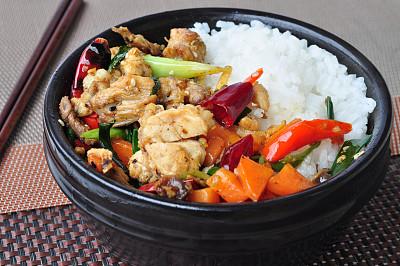 鸡肉,米,中式外卖,锅炉,辣椒粉,炸鸡,胡萝卜,水平画幅,无人,椒类食物