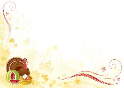 火鸡,背景,南瓜派,留白,边框,水平画幅,无人,绘画插图,南瓜,卡通