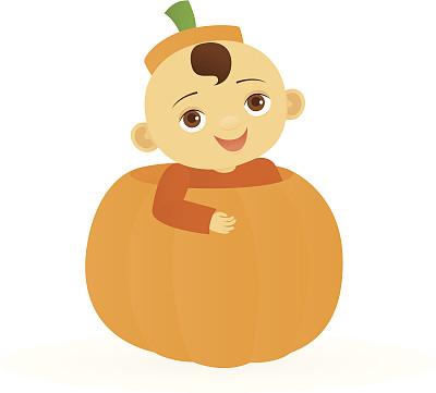 南瓜,婴儿,幸福,橙色,可爱的,快乐,秋天,褐色眼睛,绘画插图,棕色头发