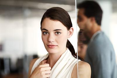 商务,疤,办公室,美,留白,水平画幅,注视镜头,工作场所,美人,人群