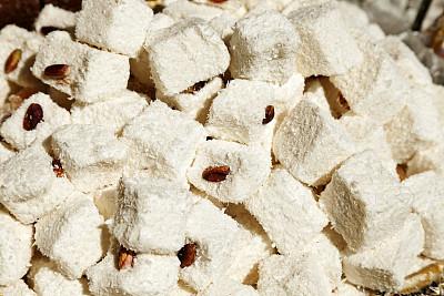 土耳其软糖,大巴扎,水平画幅,无人,糖粉,特写,货摊,白色,立方体形状,彩色图片