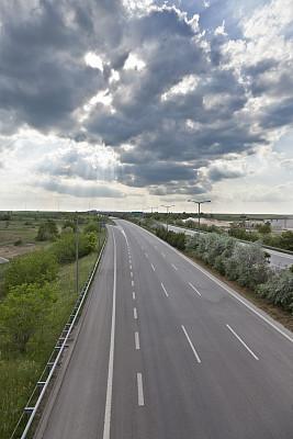 公路,单行道,旅途,沥青,直的,迅速,多车道公路,沙砾,分界线,路标