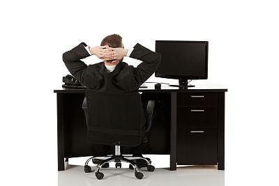 男商人,台式个人电脑,平面屏幕,座机,办公室,水平画幅,在之后,套装,白人,男性