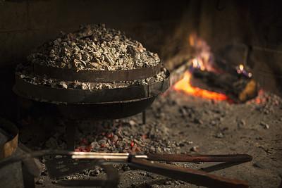 壁炉,液囊,餐具,住宅房间,水平画幅,无人,古老的,乡村风格,烟,锅