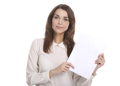 空白的,纸,青年女人,正面视角,留白,仅成年人,青年人,专业人员,彩色图片,人的脸部