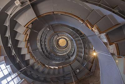 正下方视角,螺旋梯,室内,水平画幅,建筑,无人,抽象,向上看,高大的,螺线