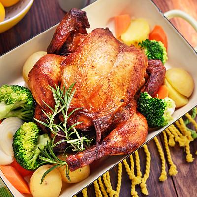 烤鸡,蔬菜,鸡翅,餐具,褐色,胡萝卜,无人,膳食,精制土豆,乡村风格
