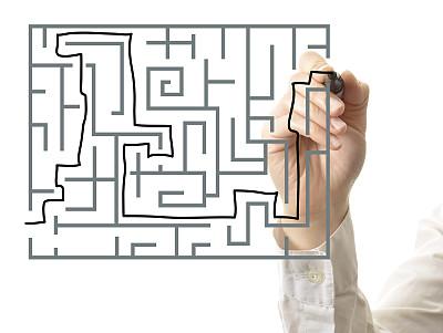 手,迷宫游戏,痕迹,商务策略,水平画幅,智慧,男商人,方向,想法,白色