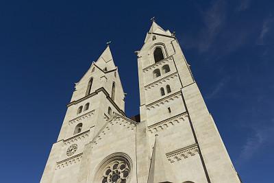 维也纳新城,中世纪时代,无人,奥地利,水平画幅,建筑,塔,罗马风格