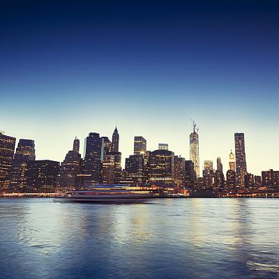 纽约,曼哈顿,在上面,东河,成一排,建筑,夜晚,无人,全景,城市天际线