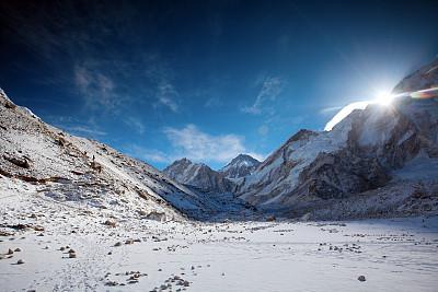高处,山脉,在之后,卡拉帕塔峰,冰瀑,坤布,珠穆朗玛峰,天空,努子峰,水平画幅