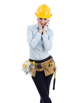 女性,垂直画幅,美,建筑承包商,美人,问题,安全帽,仅成年人,建筑业,工业