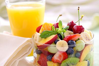 水果沙拉,清新,果盘,水平画幅,樱桃,无人,桃,生食,夏天,明亮