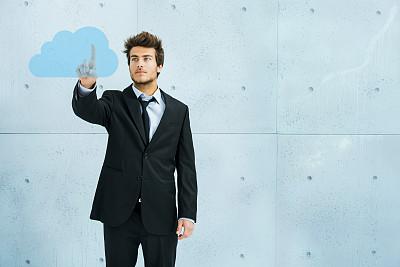 男人,按键区,云计算,未来,半身像,仅成年人,现代,想法,青年人,私密