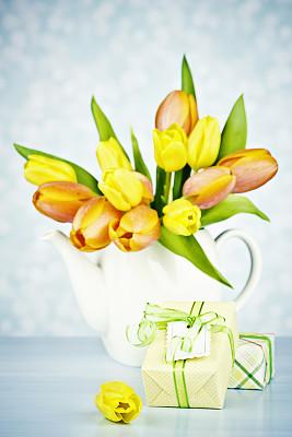 郁金香,花束,清新,礼物,茶壶,垂直画幅,留白,无人,生日,干净