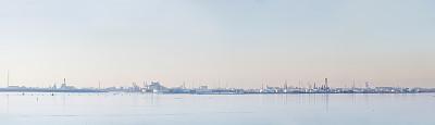 波多,威尼托大区,水平画幅,无人,海港,全景,石油化工厂,工厂,水库,泻湖