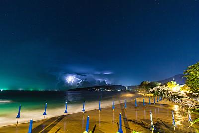 卡隆海滩,季候风,苏梅岛,暴雨,水,天空,暴风雨,度假胜地,水平画幅,沙子