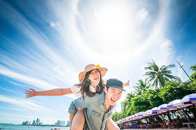 海滩,女人,男人,天空,青少年,休闲活动,泰国人,夏天,自由,青年人
