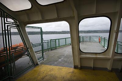 渡轮,摄像机拍摄角度,惠德贝艾斯兰德,救生艇,普吉特海湾,自然,窗户,水,水平画幅,透过窗户往外看