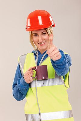 职业,女性,翘起大拇指,工间休息,反光服,垂直画幅,建筑承包商,半身像,周末活动,安全帽