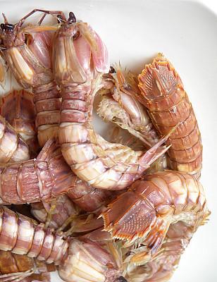 虾,煮食,去壳,尾鳍,垂直画幅,褐色,无人,膳食,明虾,彩色图片