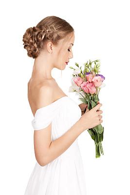花束,新娘,注视镜头,自然美,垂直画幅,美,彩妆,侧面像,美人,纯净