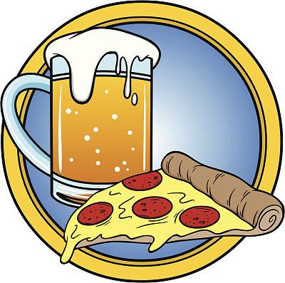 比萨饼,啤酒,辣香肠披萨,饮料,意大利辣香肠,寒冷,含酒精饮料,食品,玻璃杯,啤酒杯