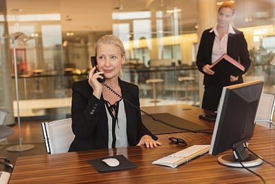 女商人,老年人,办公室,水平画幅,工作场所,电话机,人群,套装,白人,图像