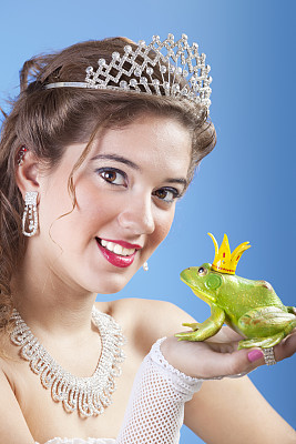 青蛙王子,公主,金色头发,垂直画幅,美,美人,古典式,长发,青年人,童话故事